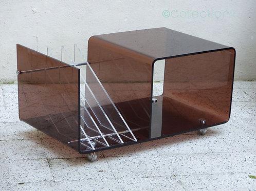 Table plexiglass porte-revue et range-vinyles vintage Michel Dumas
