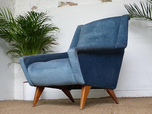 Fauteuil vintage velours bleu