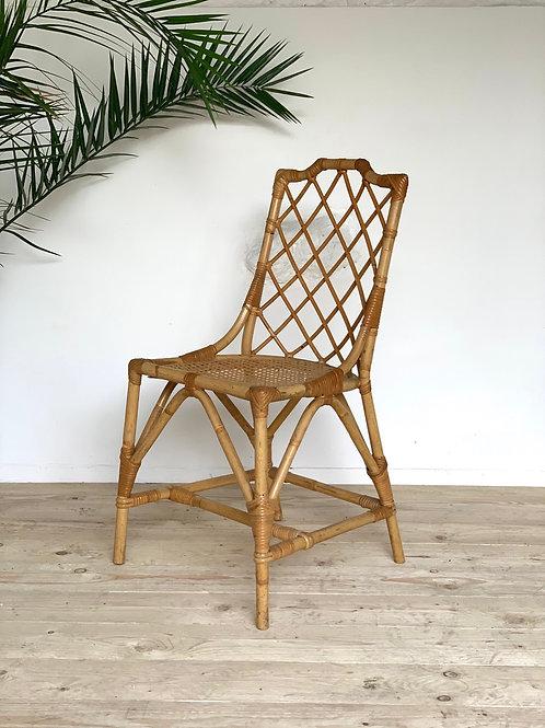 Chaise vintage rotin et cannage
