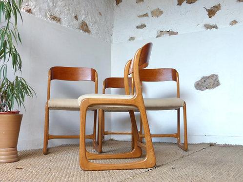 Chaises Baumann traineau vintage en chêne