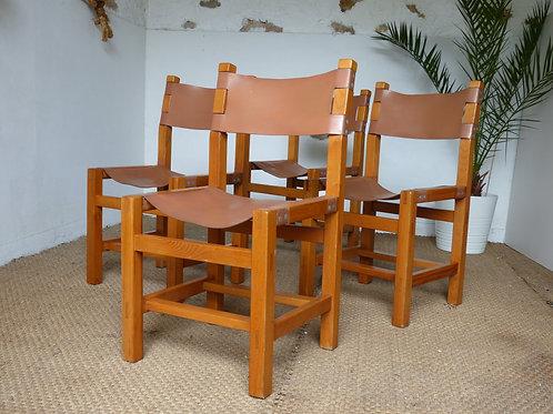 Chaise vintage Maison Regain orme massif esprit Pierre Chapo