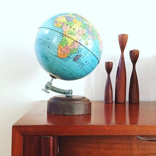 Globe terrestre 1950 - Mappemonde métal ancienne