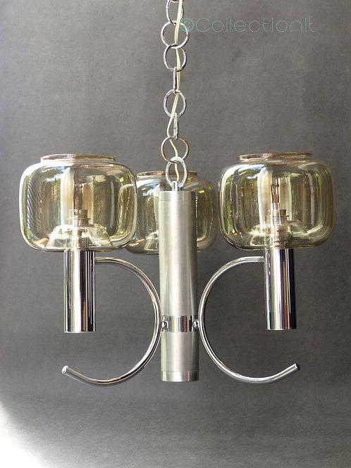 lustre seventies - suspension chromée vintage