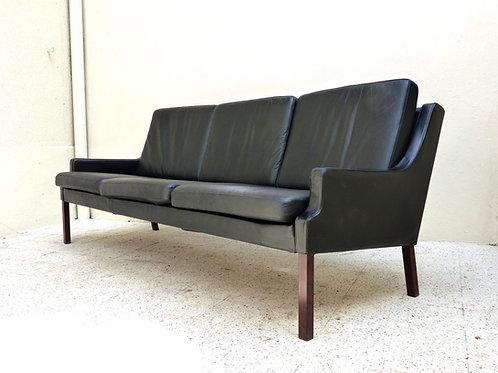 Canapé scandinave vintage en cuir et palissandre