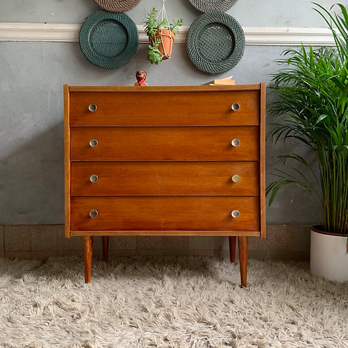 Commode vintage en chêne 4 tiroirs