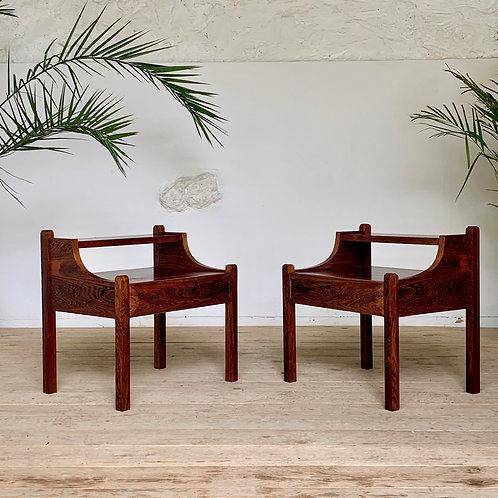 Tables de Chevet vintage en palissandre de Rio