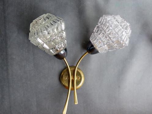 Applique double vintage laiton et verre taillé
