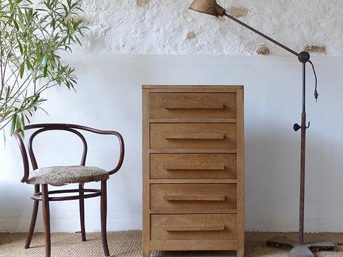 Commode chiffonnier vintage en chêne brut année 50