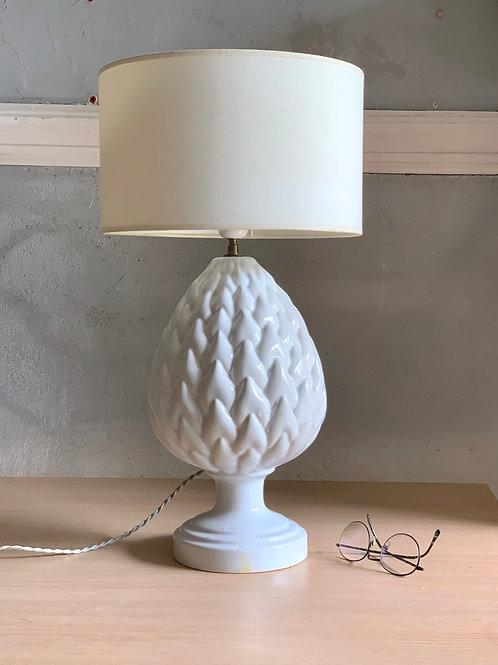 Lampe de table vintage ananas en faience blanche