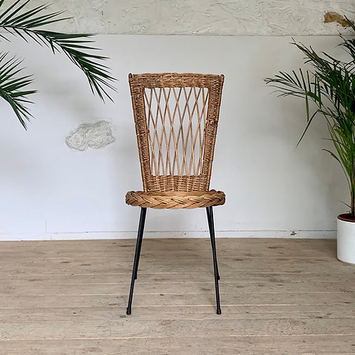 Chaise vintage rotin métal noir