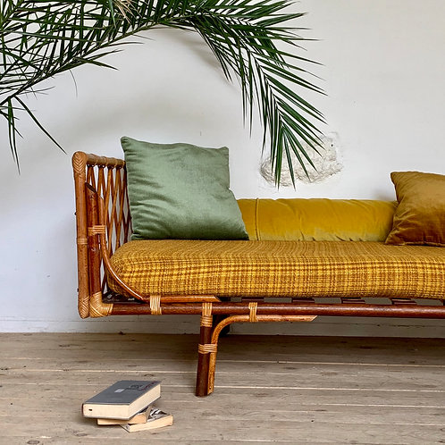 Lit corbeille rotin daybed vintage