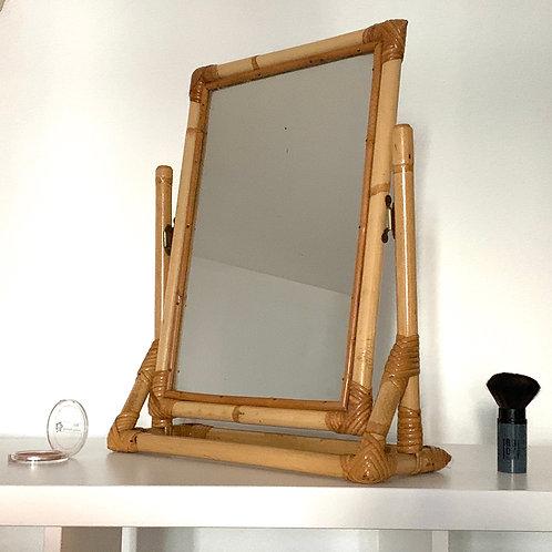 Miroir de table vintage en rotin