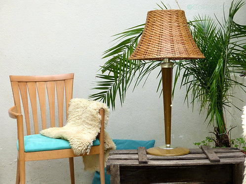 Lampe à poser vintage - lampe rotin