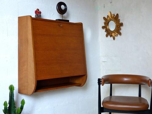 Bureau secr taire mural vintage en ch ne collectionit mobilier vintage luminaires scandinave - Bureau faible profondeur ...