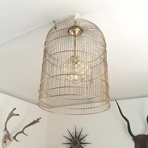 RESERVÉ - Suspension cage d'oiseau vintage en métal doré