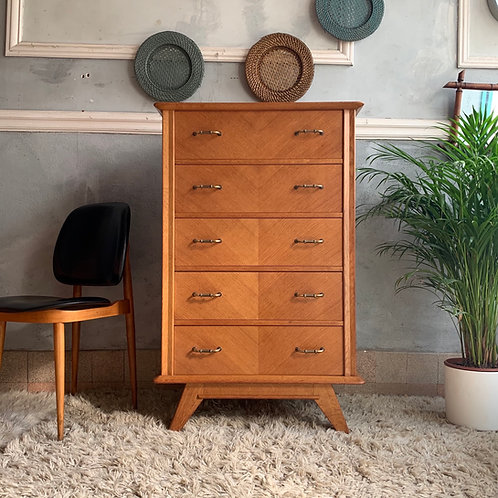 Commode chiffonnier vintage pied compas