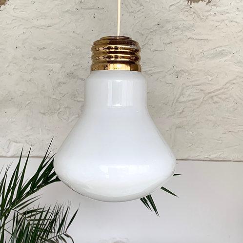 Suspension opaline ampoule blanche vintage et doré