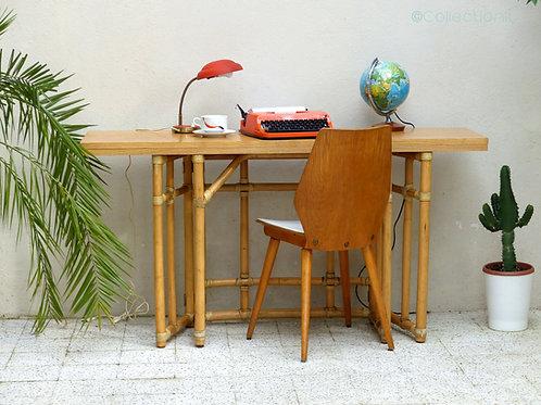 Table rotin vintage transformable