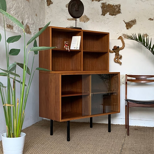 Bibliothèque vitrine vintage moderniste