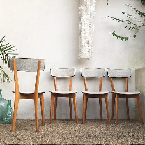 Chaises vintage françaises gris chiné - les 4