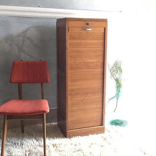 Classeur à rideau vintage  en chêne - Meuble à rideau vintage