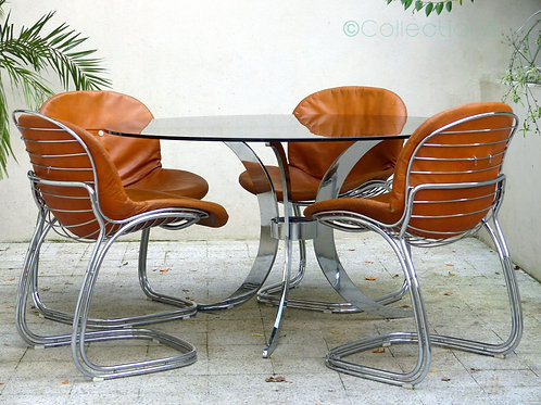 Table et chaises design italien Gastone Rinaldi vintage