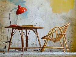 bureau rotin fauteuil rotin enfant vintage