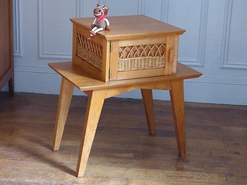 Chevet vintage en chêne - Table de nuit vintage
