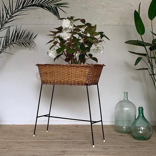 Jardinière porte-plante  rotin et métal vintage