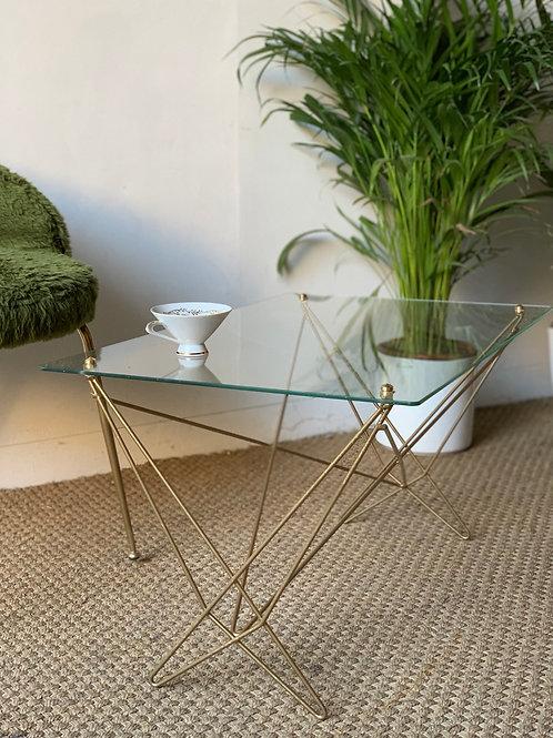 Table basse vintage verre et metal doré