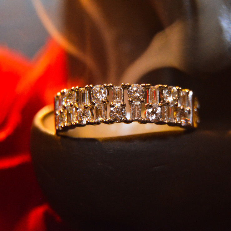 Round and Emerald Diamond Ring