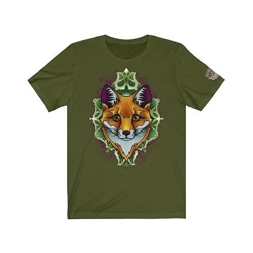 Fox mandala by Janie on soft tee with logo on left sleeve