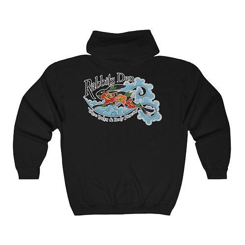 Jumping Rabbit front and back print heavy zip sweatshirt