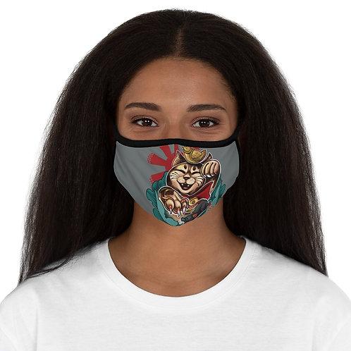 Maneki Neko Cat on Fitted Polyester Face Mask