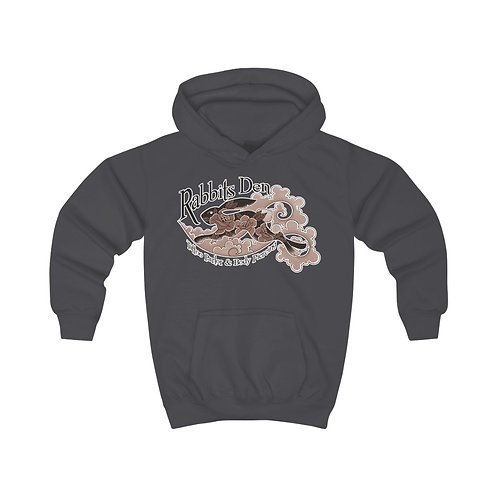 Sepia Jumping Rabbits on kids hoodie