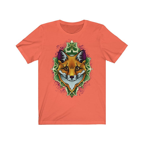 Fox mandala on your choice color jersey short sleeve tee