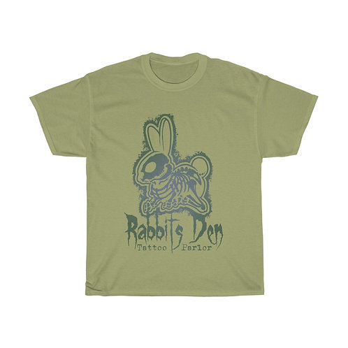 Muted green skelerabbit on color choice of Unisex Heavy Cotton Tee