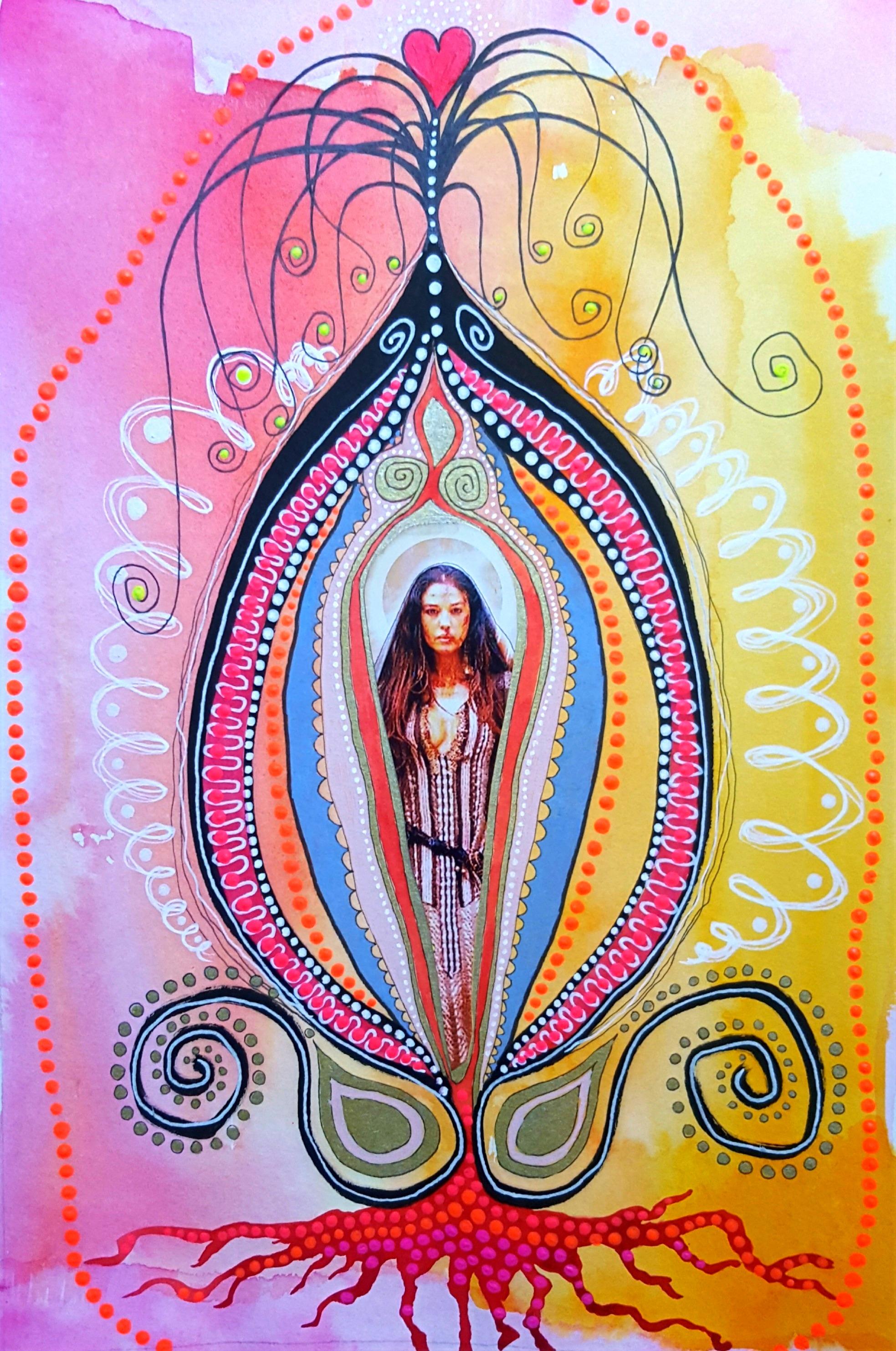 Yoni Maria Magdalena 30 x 20 cm, mixed media