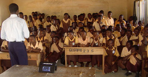 Lack of Classrooms Compels P1-JHS 3 Pupils at Kadoli  to Use 3- Unit Class Unit Block.