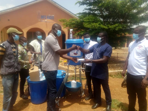 Ghana Red Cross Society, Upper West donates PPEs to Info Radio