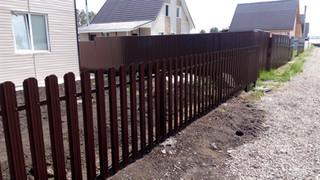Забор из металлического штакетника, откатные ворота с автоматикой, калитка. 25 метров. Стоимость под