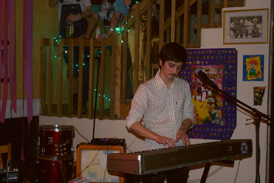 Paul Matney, the other half of Gozen, plays keyboard for the duo's third song of the night.