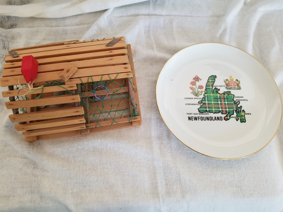 mini lobster trap and Newfoundland plate