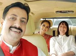 Gaurav Grover (Founder & Chairman), Manushi Chillar (Miss World 2017) & Julia Morley (Chairman & CEO- Miss World)