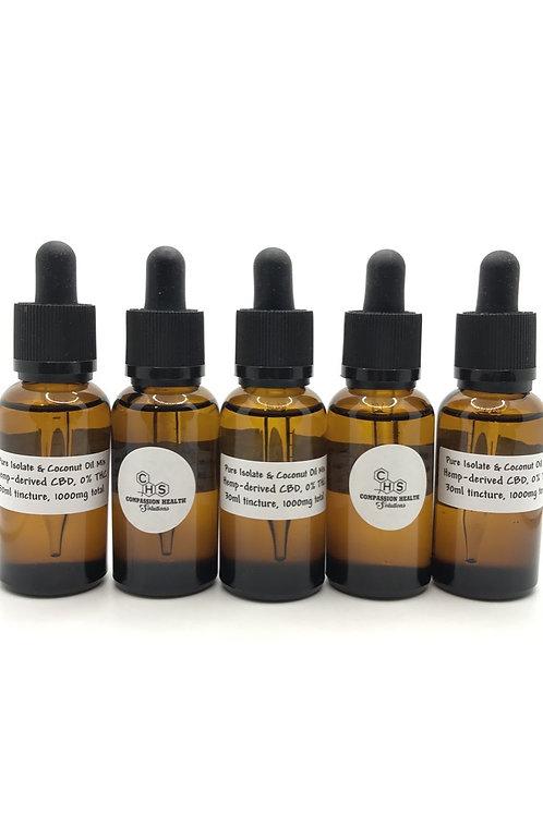 1000mg, 30ml CBD Tincture, 99+% Pure CBD Isolate & Coconut (MCT) Oil Mix