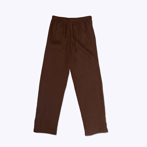 The Slip-On Pant in Brown Linen