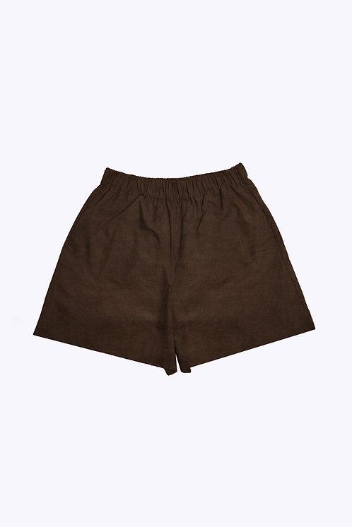 The Slip-On Short in Brown Linen