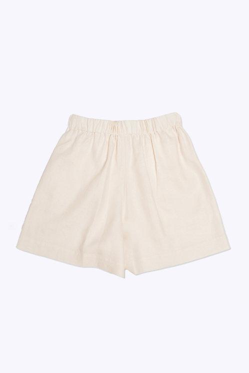 The Slip-On Short in Cream Linen