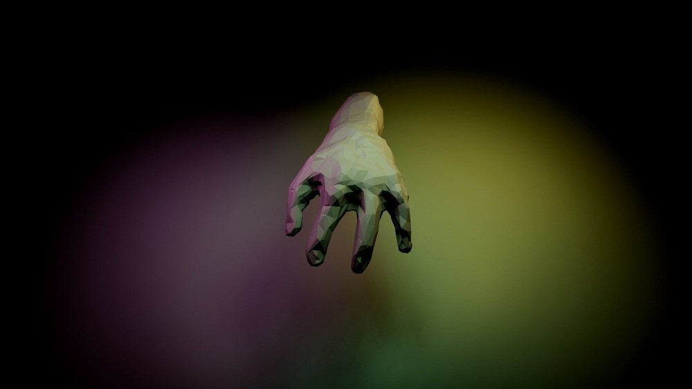 A digitally rendered four finger hand is suspended in space against a black background lit with purple and yellow