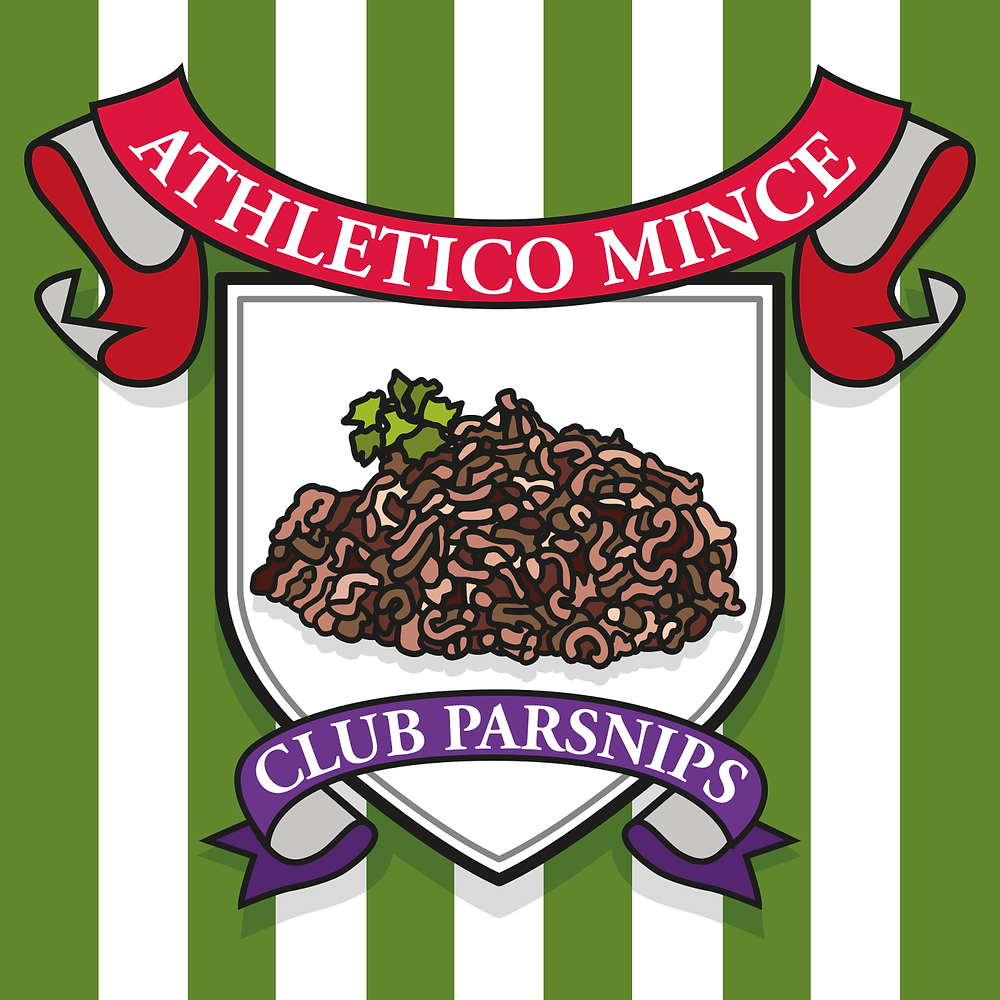 Athletico Mince podcast cover, like a football club with a shield featuring a drawing of parsnip peelings